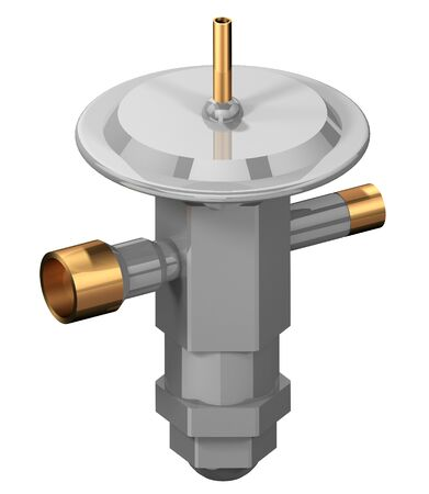 3D rendering of a Thermal Expansion Valve (TEV) used in refrigeration systems. Фото со стока