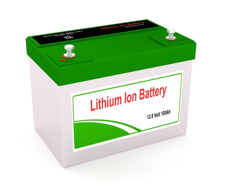 3D rendering of a Lithium Ion rechargeable battery Imagens
