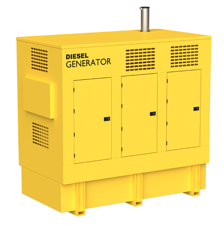 3D-weergave van een dieselelektrische generator