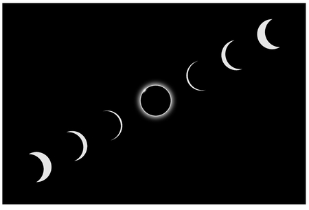 Illustration of a total solar eclipse in series 版權商用圖片