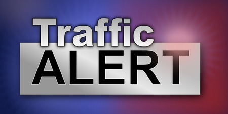 Traffic alert graphic with blue and red emergency lights