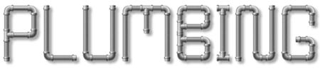 The word plumbing in text made of piping with drop shadow.