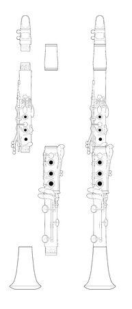 Technische Illustration einer montierten und demontierten Klarinette.
