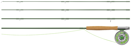 Fly fishing rod and reel, in sections