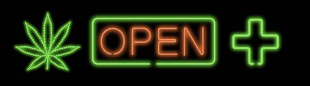 Open neon sign on black background for medical a marijuana store. Banque d'images - 140499102