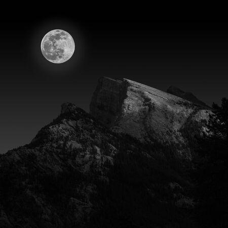 Full Moon Rising Over Canadian Rockies
