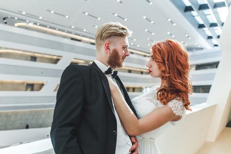 futuristic building: Wedding couple in a futuristic building Stock Photo