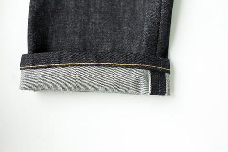 Photo from close range. Selvedge denim jeans closeups Stock Photo