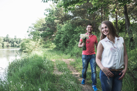 2 persons only: Cute couple in a forest Stock Photo