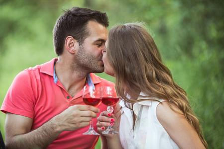 enjoying life: Couple at a picnic enjoying life and relaxing