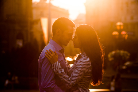 women kissing women: Couple have fun in the city Stock Photo