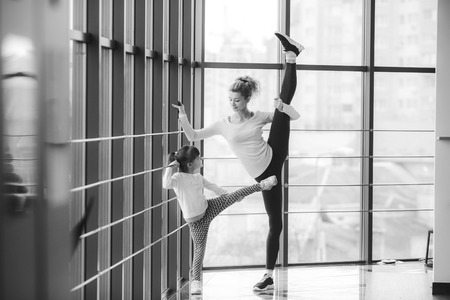 family fitness: Charming family spends time in the gym