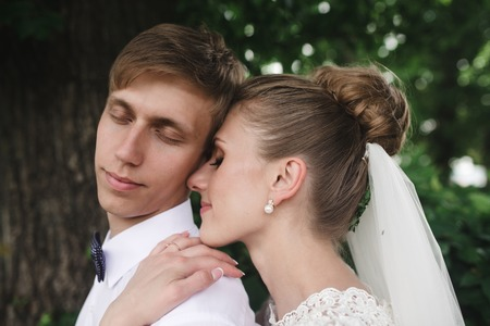 beautiful young couple tenderly embracing each other