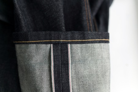 close ups: Selvedge denim jeans close ups from different angles