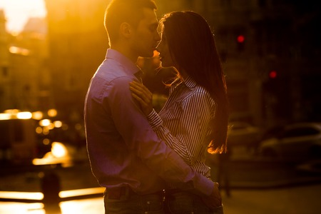 hot boy: beautiful couple having fun and walking at the big city Stock Photo