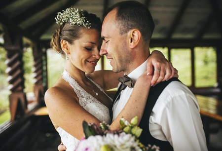Wedding couple together close to each other