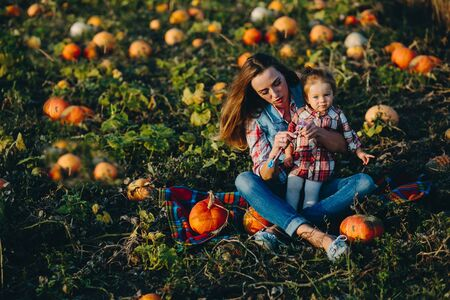 familias felices: mother and daughter on a field with pumpkins, Halloween eve Foto de archivo