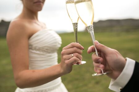 clink: bridal couple clink glasses of champagne on the nature