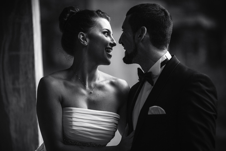 Beautiful wedding couple in each other's arms in the park, close angle