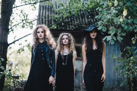 sibyl: Three vintage witch go to the Sabbat eve of Halloween Stock Photo