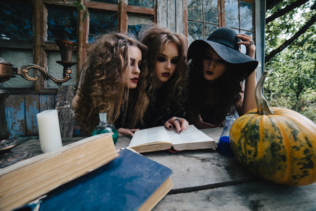 beldam: Three vintage witches perform magic ritual, at the table, reading a magical book on the eve of Halloween Stock Photo