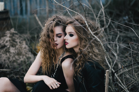 sibyl: Two vintage witches gathered for the sabbat eve of Halloween