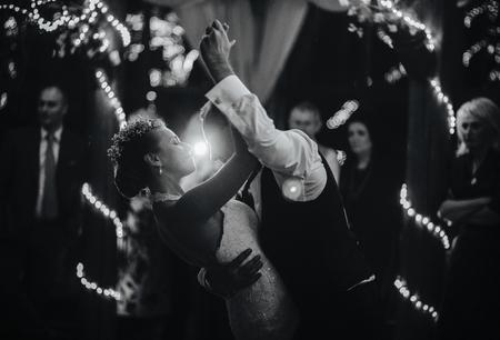wedding dance of beautiful young newlywed couple Stock Photo