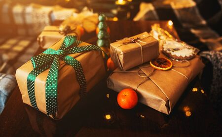 Beautiful themed gifts lie on wooden table
