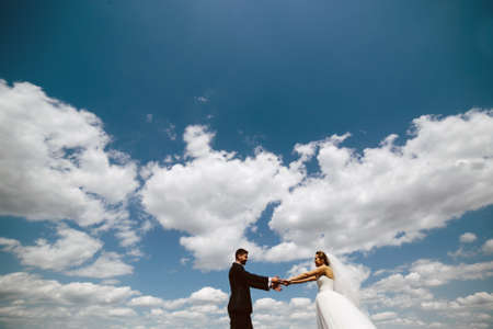 blue summer sky: Beautiful wedding couple on the background of blue sky