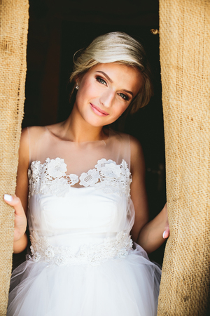 elegant dress: Smiling beautiful bride in traditional white wedding dress Stock Photo