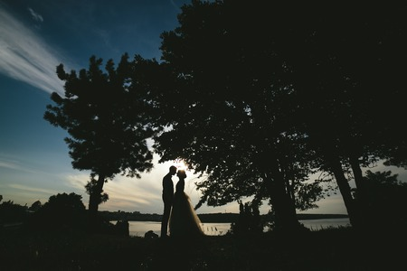 tenderly: bride groom standing in the park and tenderly looking at each other