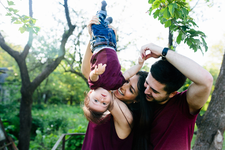 young wife: young family on the nature in the countryside