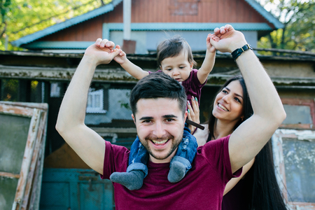 lifestile: young family on the nature in the countryside