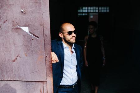 doorway: man in the doorway an abandoned building