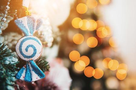 embellishment: Christmas toys on the Christmas tree with a close angle