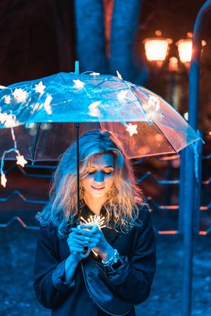 Under the light of an umbrella