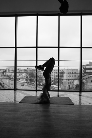 visualizing: woman doing yoga Stock Photo