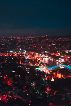 Big old city at night, Tbilisi Imagens