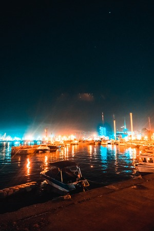 The boats stand overnight at the pier Stock fotó