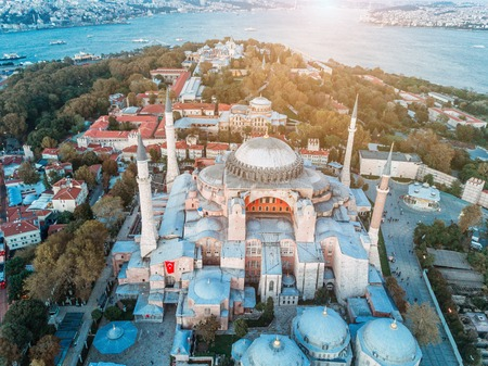Aerial Footage of Sultanahmet, Blue Mosque Фото со стока