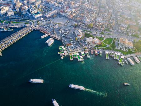 Galata Bridge, Bosphorus Turkey Istanbul aerial photography Stock Photo