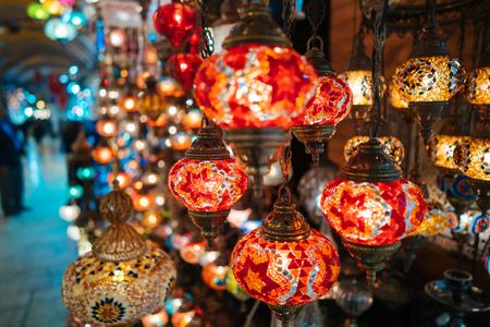Beautiful turkish mosaic lamps on Istanbul bazaar. Stock Photo