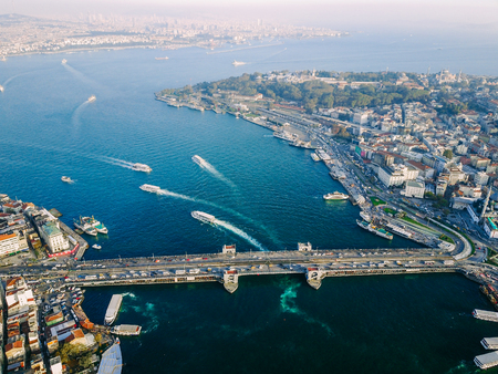 Galata Bridge aerial photography