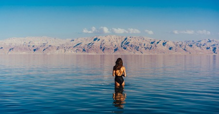 Young woman going to Dead Sea, Israel