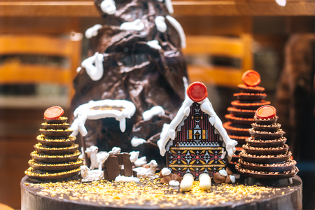 Chocolate figures made by hands
