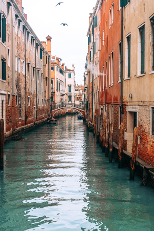 Colourful and relaxing canal in Venice 免版税图像