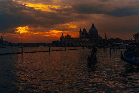 Grand Canal and Basilica Santa Maria della Salute Stock Photo
