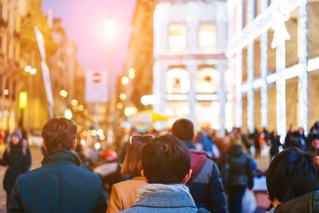 people crowd walking on busy street 版權商用圖片