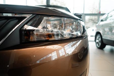 The headlamp of a modern prestigious car from a close angle Imagens