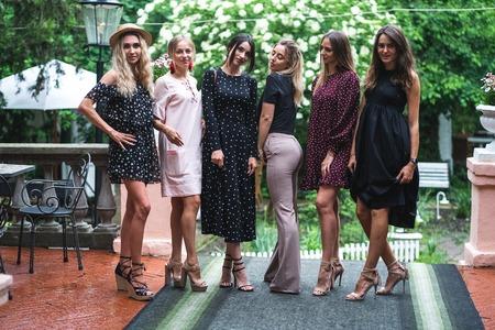 Six girls posing on camera 스톡 콘텐츠